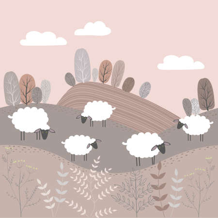 Vector autumn landscape with fields and trees. White sheep stand in the meadow.