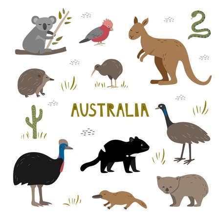 Cute hand drawn set with australian animals. Tasmania devil, kangaroo, koala and platypus. Kiwi, echidna and cassowary.