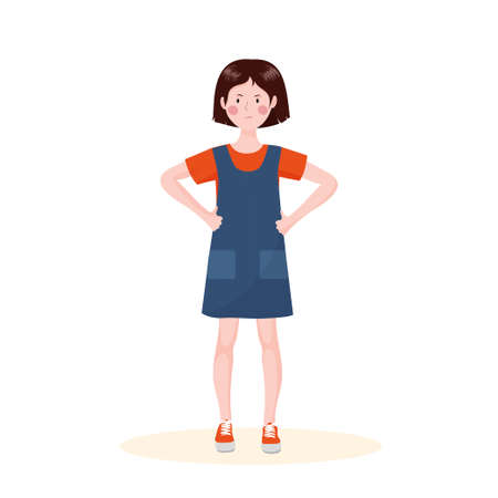 A girl in a bad mood stands in full growth. The girl is angry. Ilustração