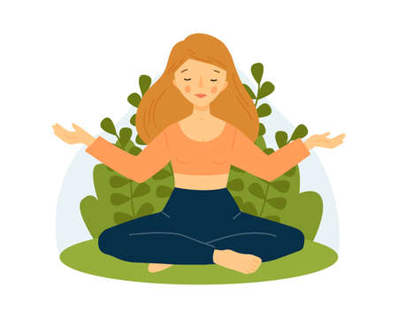 The girl practices yoga. Meditation concept. Girl in lotus pose with raised hands.