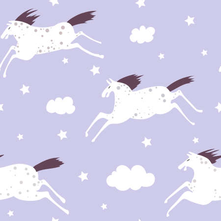 Seamless vector pattern with white horses and clouds. Night dreams, illustration for children.