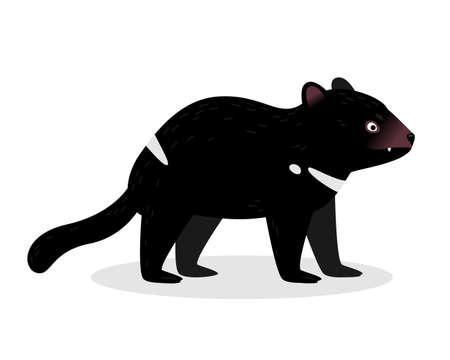 Tasmanian devil in a realistic style isolated on a white background. Animals of Australia. Ilustração