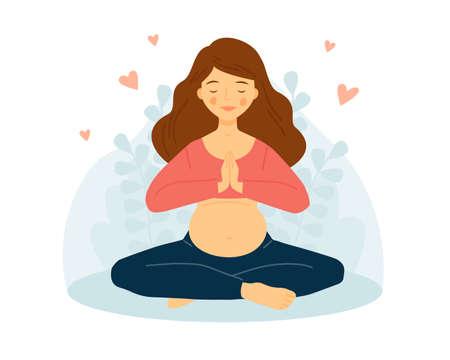 Pregnant woman practices yoga. The girl is meditating. Namaste. Ilustração