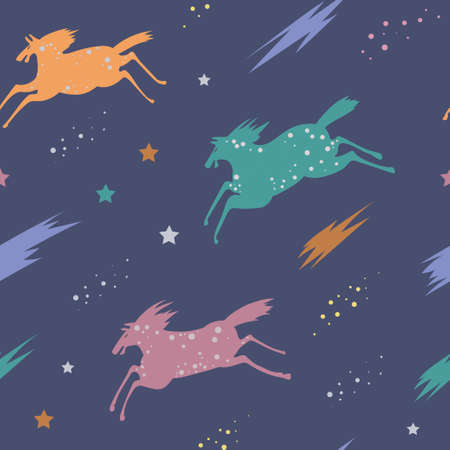 Seamless vector pattern with colorful horses and clouds. Night dreams, illustration for children.