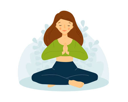 The girl practices yoga. Meditation concept. Girl in lotus pose. Namaste.