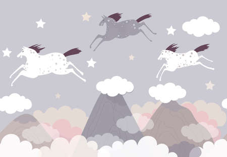 Vector background with mountains, clouds and flying horses in hand drawn style. Night dreams. Illustration for children.