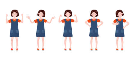Teenage girl set with a different emotions and poses. Illustration in hand drawn style isolated on a white background.