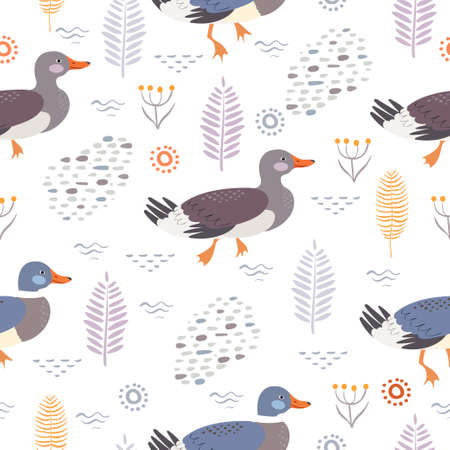 Seamless vector pattern with wild ducks and plants.