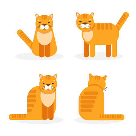 Vector set with four ginger cats in different poses isolated on a white background.