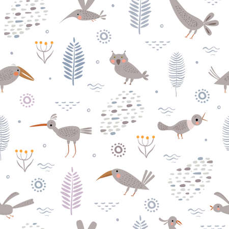 Vector set of cute fantasy birds and flowers in simple primitive style. Print for children. Seamless pattern Ilustração