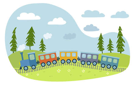 A cute colorful train goes through the fields. Illustration for children in hand drawn style. Vector flat illustration.