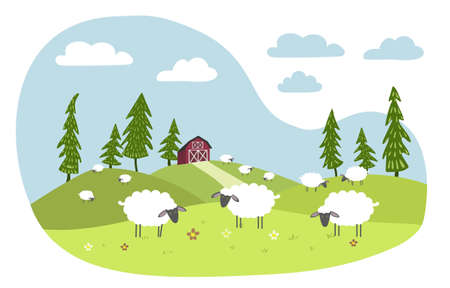 White sheep with black muzzles graze in a meadow. Red farm in the background. Ilustração