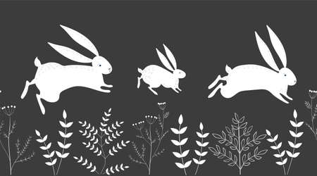Seamless vector border with white hares and plants on a black background. Rabbits run. Ilustração