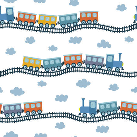 Seamless vector pattern with colorful train. Illustration for children in hand drawn style.