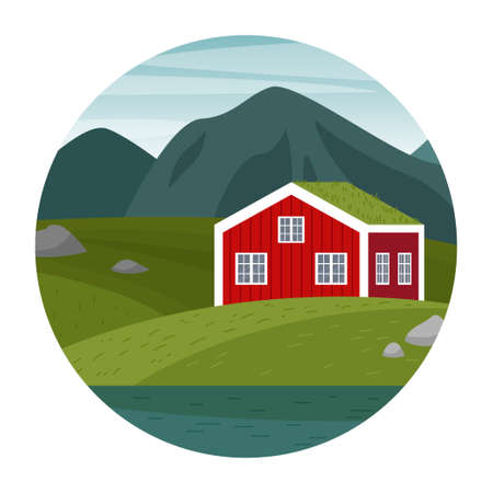 Vector scene with a Norwegian landscape. Forest, meadows, a red house by the water. Circle logo.