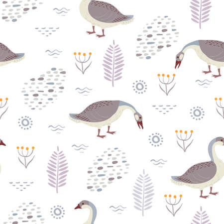 Seamless vector pattern with wild geese and plants isolated on a white background.