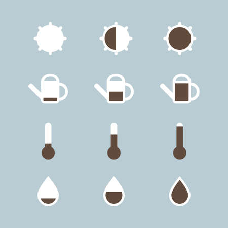 Vector collection with plant care icons for labels. Lighting, temperature, watering and humidity.