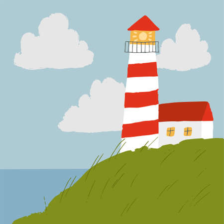 Vector scene with lighthouse and sea in hand drawn style. Simple illustration for children.