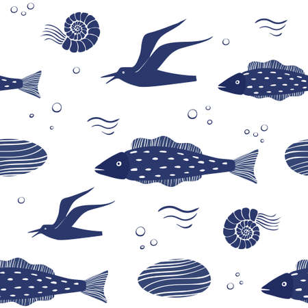 Seamless vector pattern with sea creatures isolated on white background. Fish and seagulls.