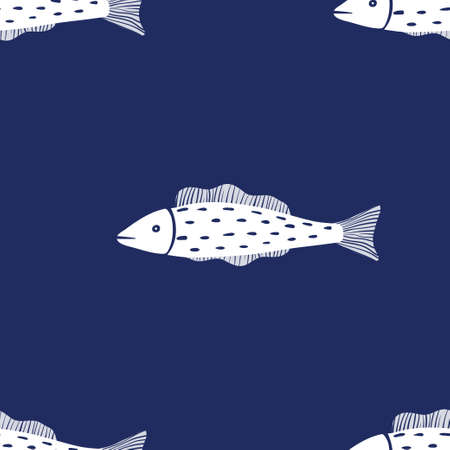 Seamless vector pattern with fishes. Monochrome blue and white pattern. Ilustração