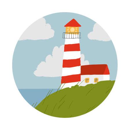 Vector scene with lighthouse and sea. Simple illustration for children. Circle logo. Ilustração