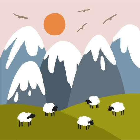 Vector landscape with snowy mountains, sun and sheep on a green lawn.