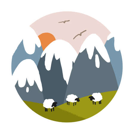Vector landscape with snowy mountains, sun and sheep on a green lawn. Circle logo.