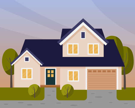 Vector scene with house in the evening. Two story house with a garage.