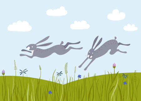 Hares run through the meadows. Vector landscape with flower fields.