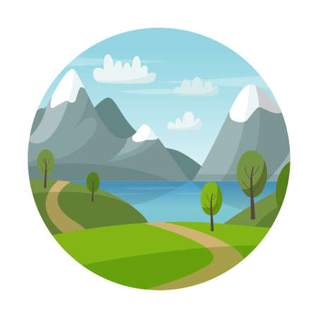 Mountain vector landscape with green hills, trees, lake and road. Nature summer illustration. Circle logo. Nature tourism.