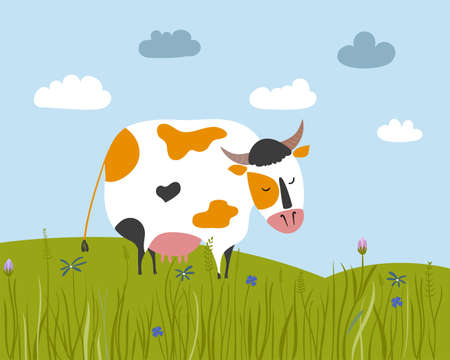 Spotted cow stands in the meadow. Vector landscape with flower fields.