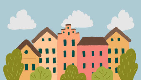 Vector cityscape with colorful houses in hand drawn style. Ilustração