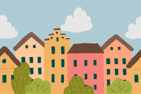 Seamless vector border with colorful houses in hand drawn style.