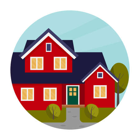 Vector flat illustration with red house. Two story house. Circle logo. Ilustração