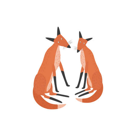 Two red foxes are sitting in a clearing. Ilustração