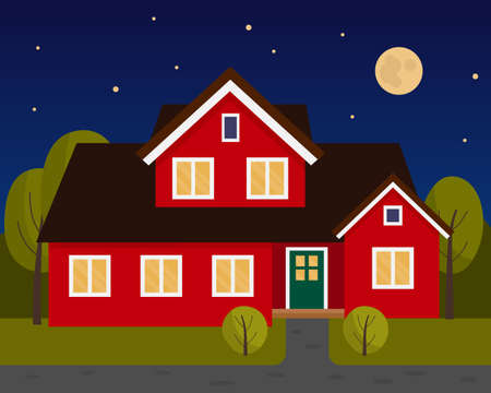 Vector scene with red house in the night. Two story house. A house under a starry sky and a full moon.
