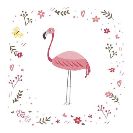Pink flamingo is standing isolated on a white background. Frame from plants and flowers. Ilustração