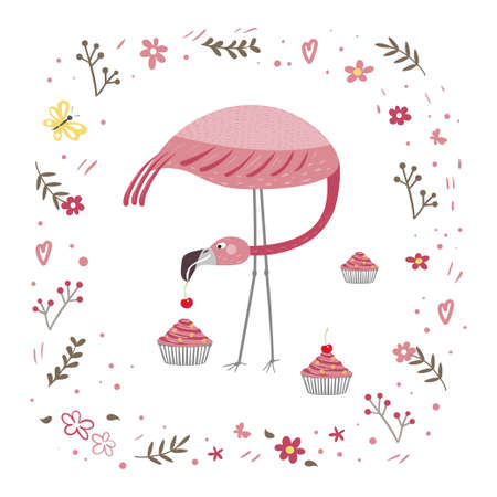 Pink flamingo is standing isolated on a white background. Flamingo is eating a cake. Frame from plants and flowers.