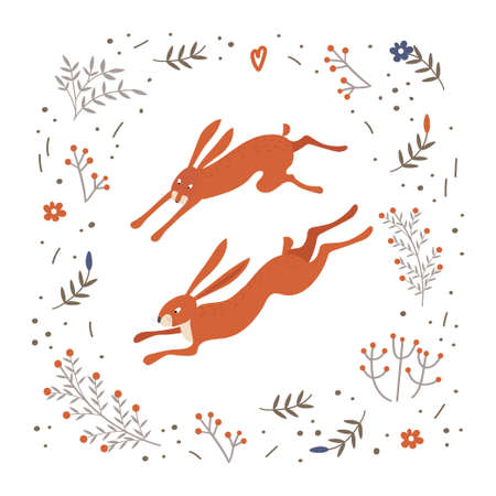 Two red hares are running through the fields. Fun rabbits. Frame from plants and flowers. Spring time.