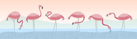 Vector set with six flamingos. Flamingos stand in the water against the backdrop of the landscape. Hand drawn illustration. Ilustração