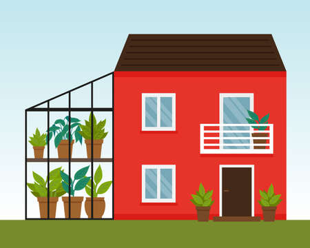 Vector flat illustration with red house with greenhouse. Winter garden. Two story house with balcony.