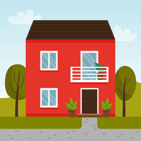 Vector flat illustration with red house. Two story house with balcony. Ilustração