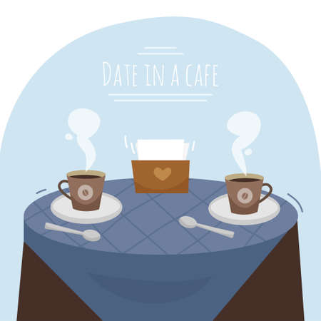 A date at a cafe. A table with two cups of coffee. Vector flat illustration Ilustração