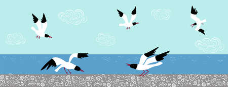 Vector set with seagulls in different poses on a background of the sea and sky. Ilustração