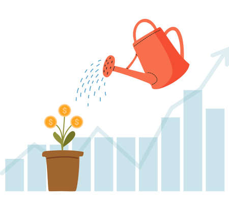 Watering can water the money tree. Growing money. Investment. Ilustração