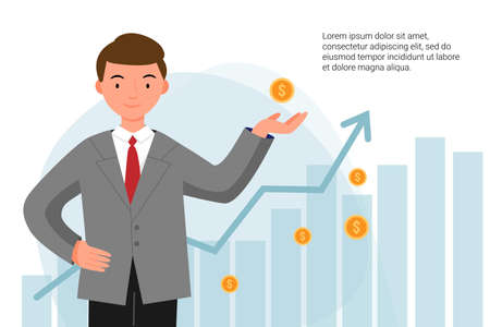 Man in a jacket successfully invests his money. A boy stands with coins in his hands on the background of graphs. Financial literacy. Investment training.