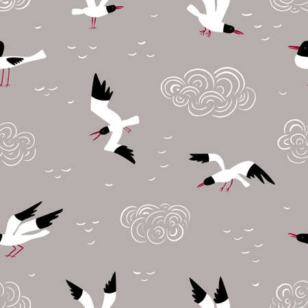Seamless vector pattern with different seagulls and clouds on a grey background. Ilustração
