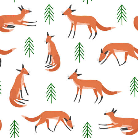 Seamless vector pattern with red foxes and trees on a white background. Hand drawn illustration.