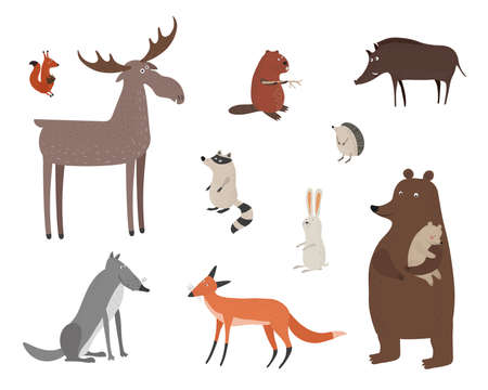 Vector set with forest animals in hand drawn style. Funny animals isolated on a white background. Squirrel, moose, rabbit, wolf and fox.