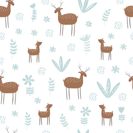 Seamless vector pattern with deer in forest and plants isolated on a white background. Hand drawn illustration.
